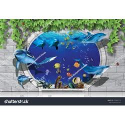 3D Duvar ve Okyanus 140x100CM Hayal Penceresi Hazır Gergi Tavan