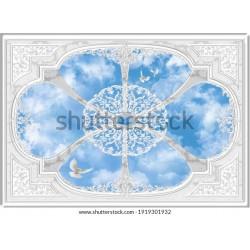 3-D ceiling painting in Classic style Gergi Avize 140x100 Hayal Penceresi Hazır Gergi Tavan