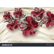 Kırmızı Çiçekler ve Saten Arka Plan 3D 140x100CM Hayal Penceresi Hazır Gergi Tavan