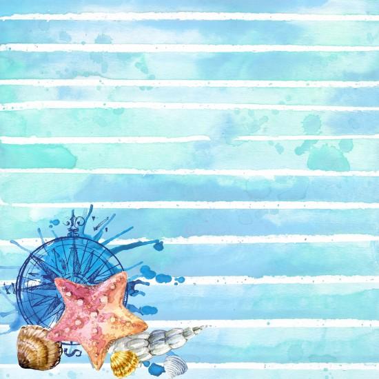Deniz Canlıları Mavi Desen Gergi Avize 109x80CM Hayal Penceresi Hazır Gergi Tavan
