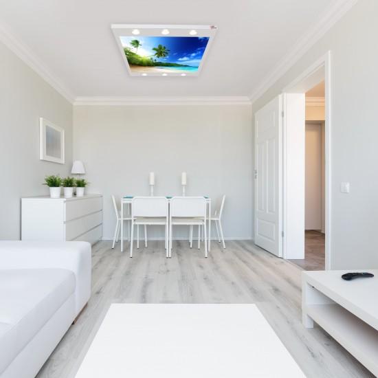 Ada ve Okyanus Gergi Avize 140x100 Hayal Penceresi Hazır Gergi Tavan
