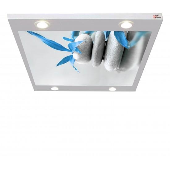 Taş ve Mavi Gergi Avize 109x80CM Hayal Penceresi Hazır Gergi Tavan